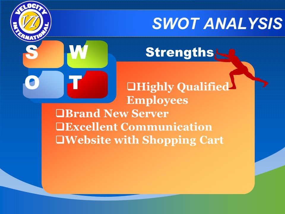SWOT ANALYSIS Strengths Highly Qualified Employees Brand New Server Excellent Communication Website with Shopping Cart SW OT