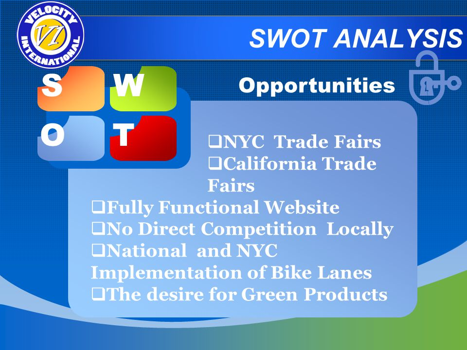 SWOT ANALYSIS SW OT Opportunities NYC Trade Fairs California Trade Fairs Fully Functional Website No Direct Competition Locally National and NYC Implementation of Bike Lanes The desire for Green Products