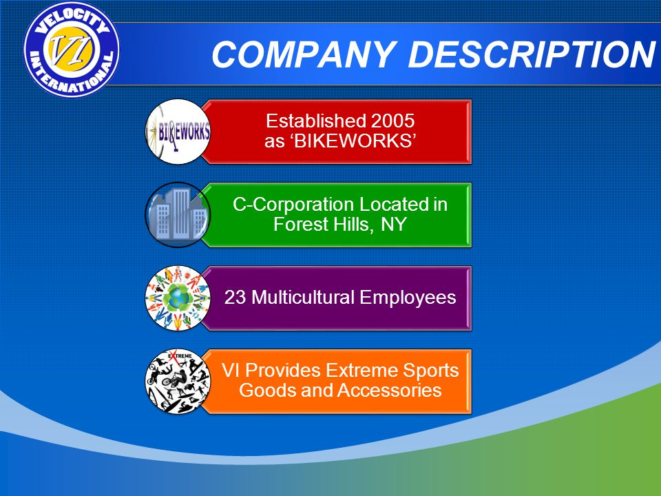 COMPANY DESCRIPTION Established 2005 as BIKEWORKS C-Corporation Located in Forest Hills, NY 23 Multicultural Employees VI Provides Extreme Sports Goods and Accessories