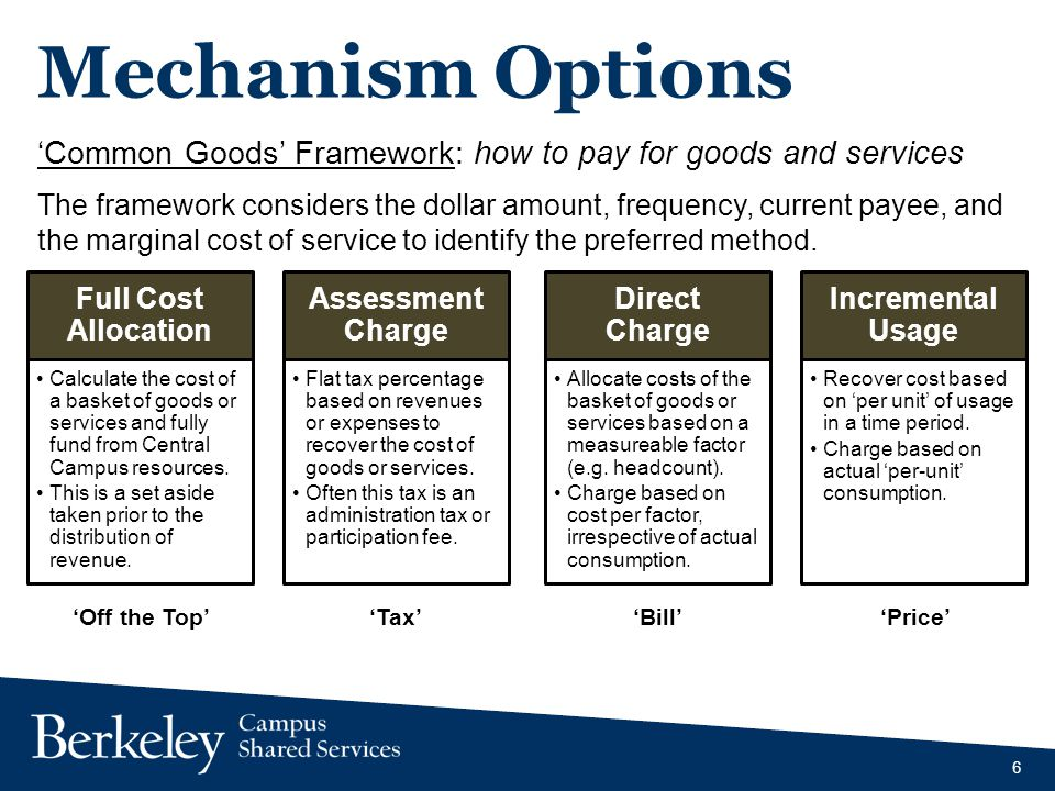 Mechanism Options Common Goods Framework: how to pay for goods and services The framework considers the dollar amount, frequency, current payee, and the marginal cost of service to identify the preferred method.