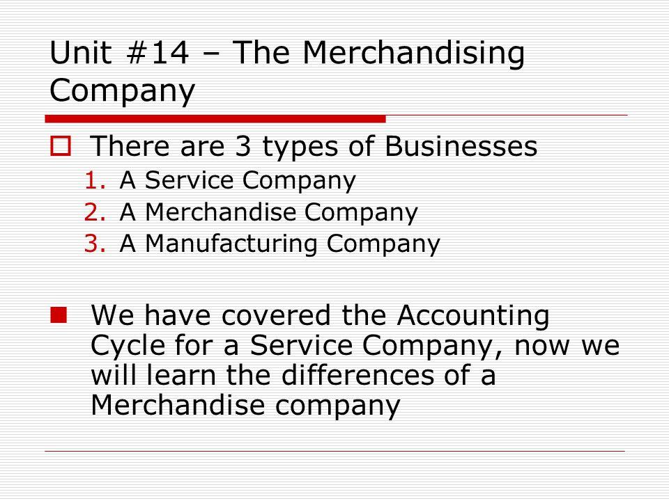 Unit #14 – The Merchandising Company Manufacturing Company Wholesaler Retailer Customer Retailer Service Company Merchandising Company