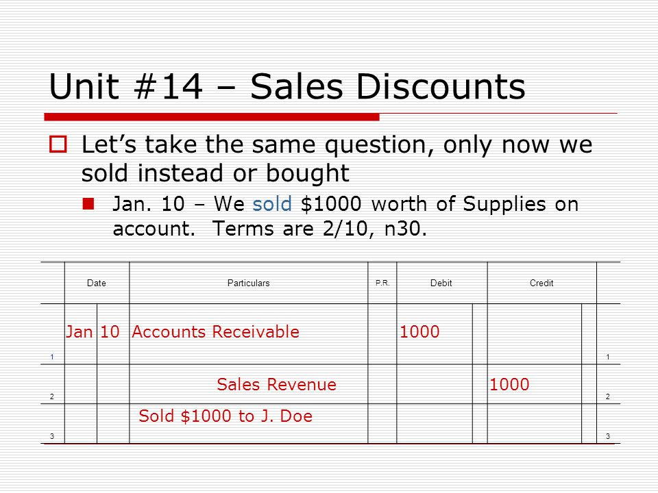 Unit #14 – Sales Discounts Lets take the same question, only now we sold instead or bought Jan. 10 – We sold $1000 worth of Supplies on account. Terms