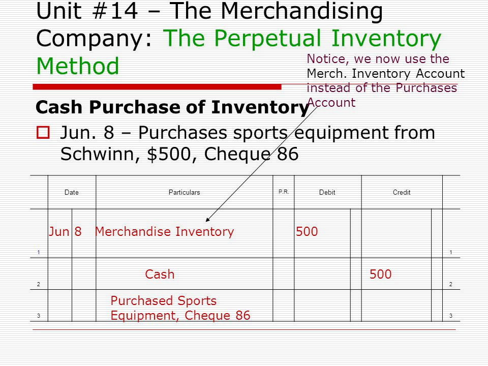 Unit #14 – The Merchandising Company: The Perpetual Inventory Method Cash Purchase of Inventory Jun. 8 – Purchases sports equipment from Schwinn, $500
