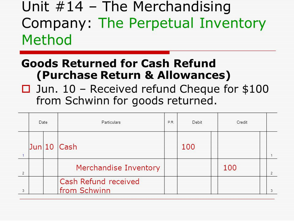 Unit #14 – The Merchandising Company: The Perpetual Inventory Method Goods Returned for Cash Refund (Purchase Return & Allowances) Jun. 10 – Received
