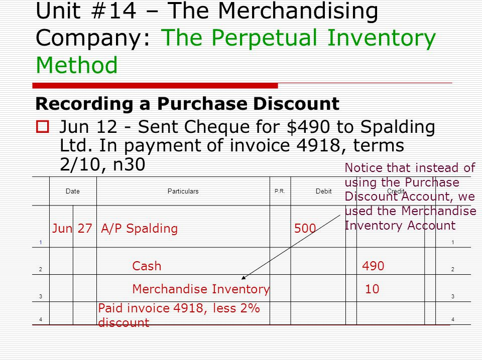Unit #14 – The Merchandising Company: The Perpetual Inventory Method Recording a Purchase Discount Jun 12 - Sent Cheque for $490 to Spalding Ltd. In p