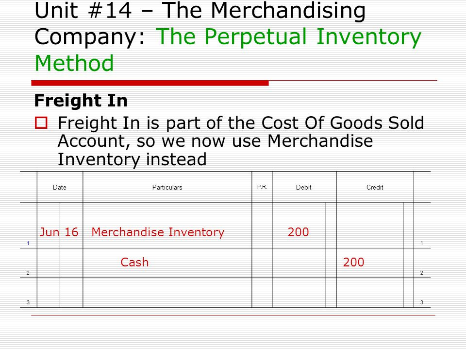Unit #14 – The Merchandising Company: The Perpetual Inventory Method Freight In Freight In is part of the Cost Of Goods Sold Account, so we now use Me