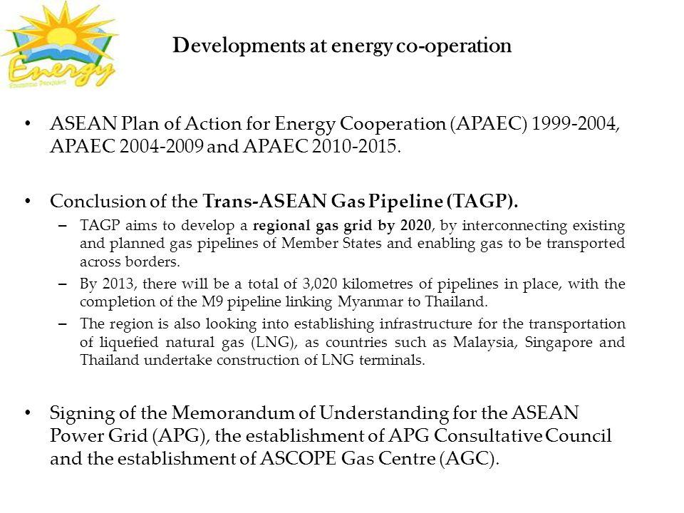 Developments at energy co-operation ASEAN Plan of Action for Energy Cooperation (APAEC) 1999-2004, APAEC 2004-2009 and APAEC 2010-2015.