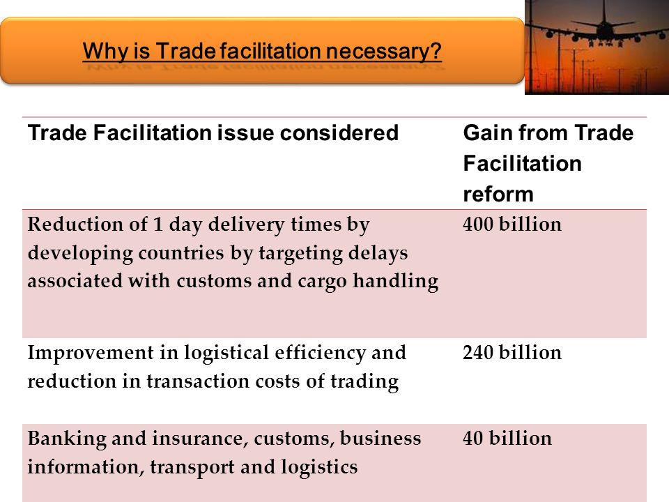 Why is Trade facilitation necessary.