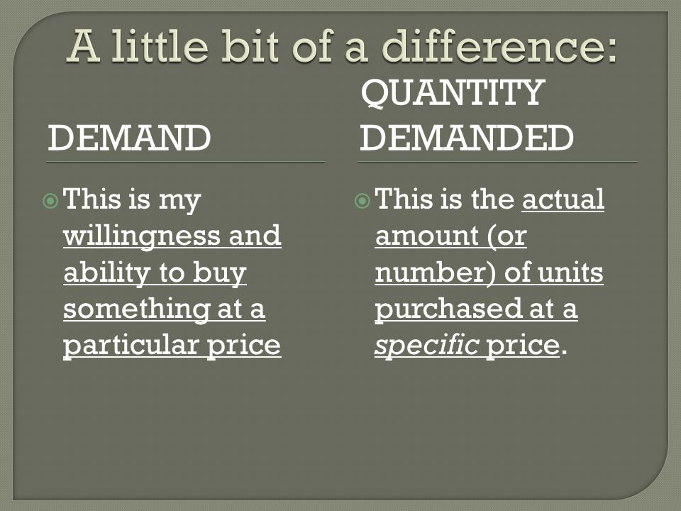 DEMAND QUANTITY DEMANDED This is my willingness and ability to buy something at a particular price This is the actual amount (or number) of units purchased at a specific price.
