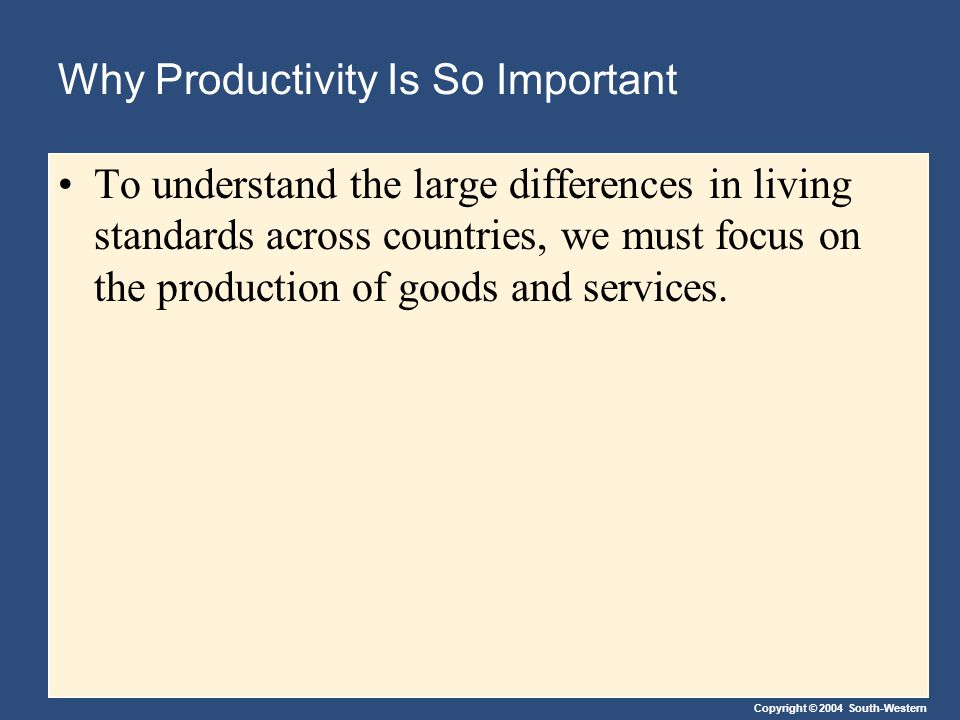 Copyright © 2004 South-Western Why Productivity Is So Important To understand the large differences in living standards across countries, we must focu