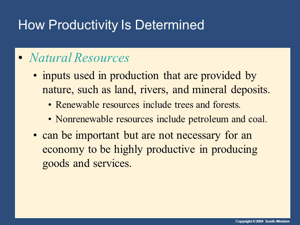Copyright © 2004 South-Western How Productivity Is Determined Natural Resources inputs used in production that are provided by nature, such as land, r