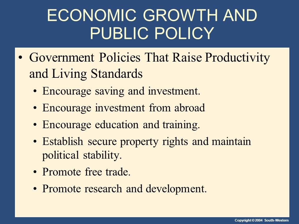 Copyright © 2004 South-Western ECONOMIC GROWTH AND PUBLIC POLICY Government Policies That Raise Productivity and Living Standards Encourage saving and