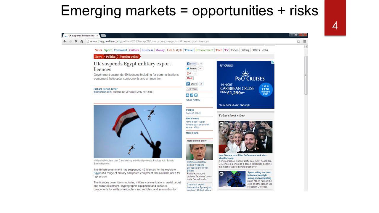 Emerging markets = opportunities + risks 4