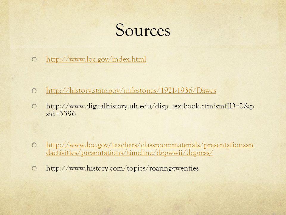 Sources http://www.loc.gov/index.html http://history.state.gov/milestones/1921-1936/Dawes http://www.digitalhistory.uh.edu/disp_textbook.cfm?smtID=2&p sid=3396 http://www.loc.gov/teachers/classroommaterials/presentationsan dactivities/presentations/timeline/depwwii/depress/ http://www.history.com/topics/roaring-twenties