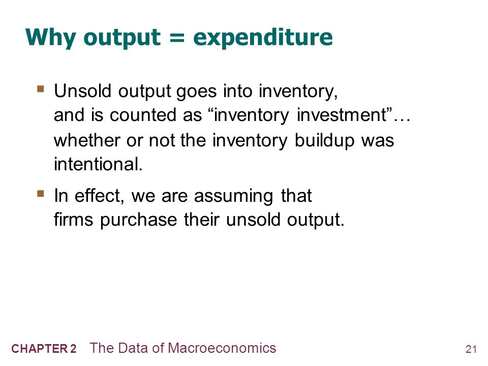22 CHAPTER 2 The Data of Macroeconomics GDP: An important and versatile concept We have now seen that GDP measures: total income total output total expenditure the sum of value added at all stages in the production of final goods