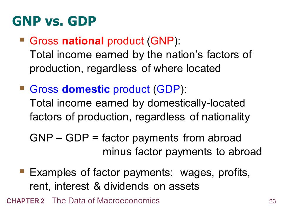 Discussion Question NOW YOU TRY Discussion Question In your country, which would you want to be bigger, GDP or GNP.