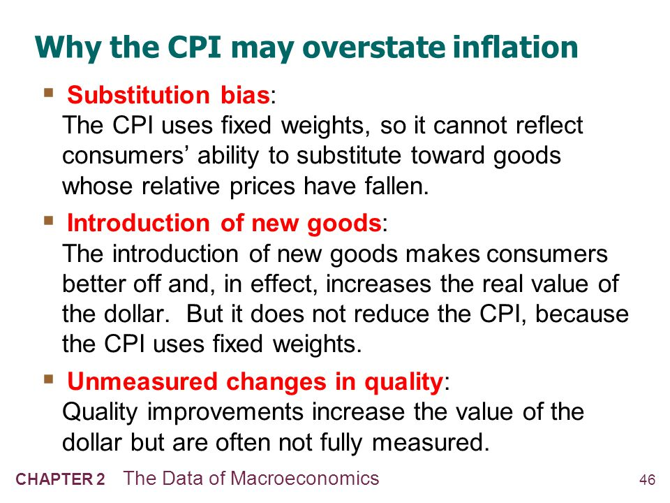 47 CHAPTER 2 The Data of Macroeconomics The size of the CPIs bias In 1995, a Senate-appointed panel of experts estimated that the CPI overstates inflation by about 1.1% per year.
