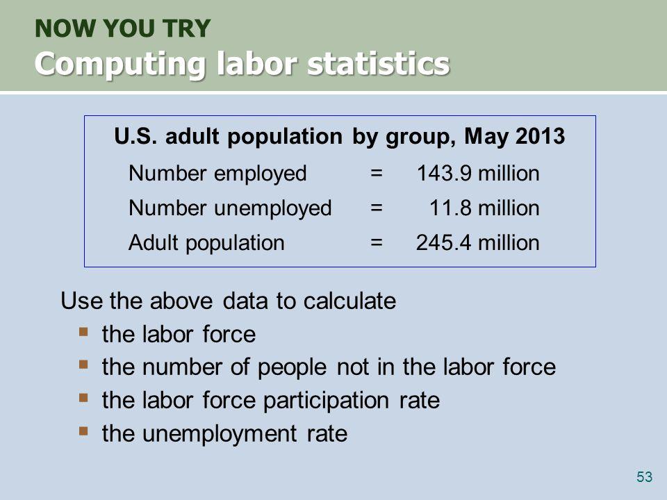 Answers NOW YOU TRY Answers data: E = 143.9, U = 11.8, POP = 245.4 labor force L = E + U = 143.9 + 11.8 = 155.7 not in labor force NILF = POP – L = 245.4 – 155.7 = 89.7 unemployment rate U/L x 100% = (11.8/155.7) x 100% = 7.6% labor force participation rate L/POP x 100% = (155.7/245.4) x 100% = 63.4% 54