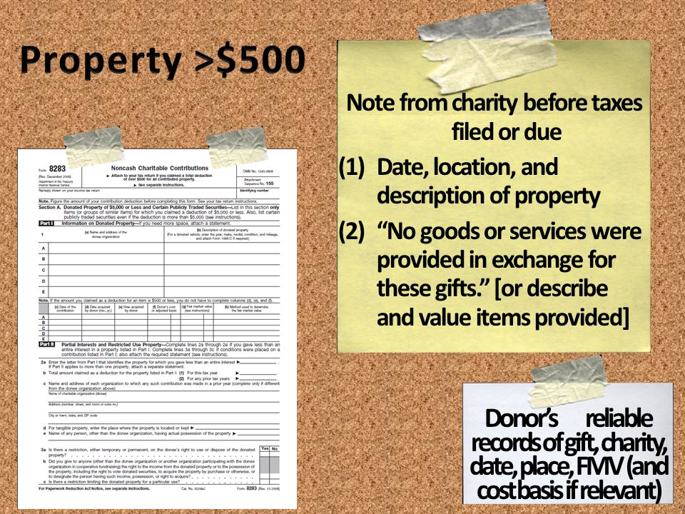 Note from charity before taxes filed or due (1)Date, location, and description of property (2)No goods or services were provided in exchange for these gifts.