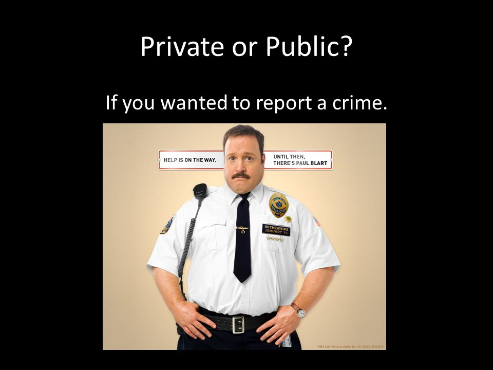 Private or Public If you wanted to report a crime.