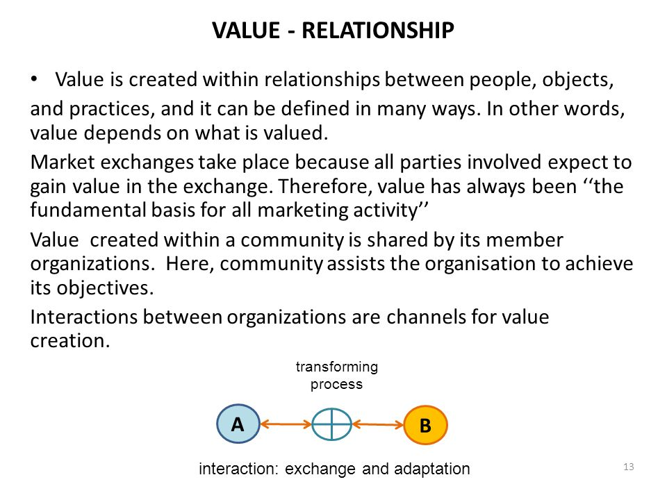 VALUE - RELATIONSHIP Value is created within relationships between people, objects, and practices, and it can be defined in many ways. In other words,