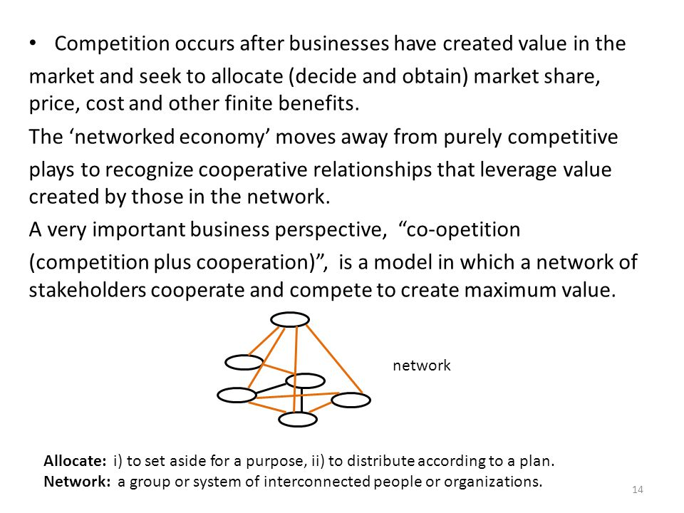 Competition occurs after businesses have created value in the market and seek to allocate (decide and obtain) market share, price, cost and other fini
