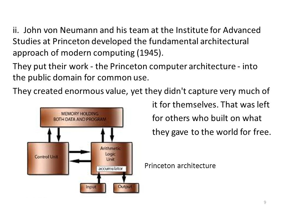 ii. John von Neumann and his team at the Institute for Advanced Studies at Princeton developed the fundamental architectural approach of modern comput