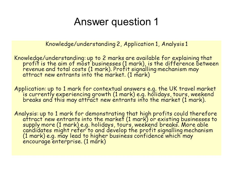 Answer question 1 Knowledge/understanding 2, Application 1, Analysis 1 Knowledge/understanding: up to 2 marks are available for explaining that profit