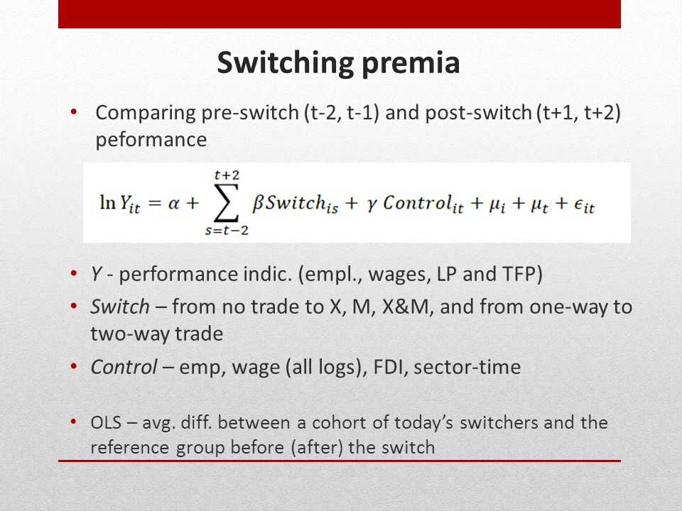 Switching premia Y - performance indic.