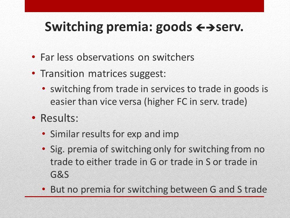 Switching premia: goods serv.