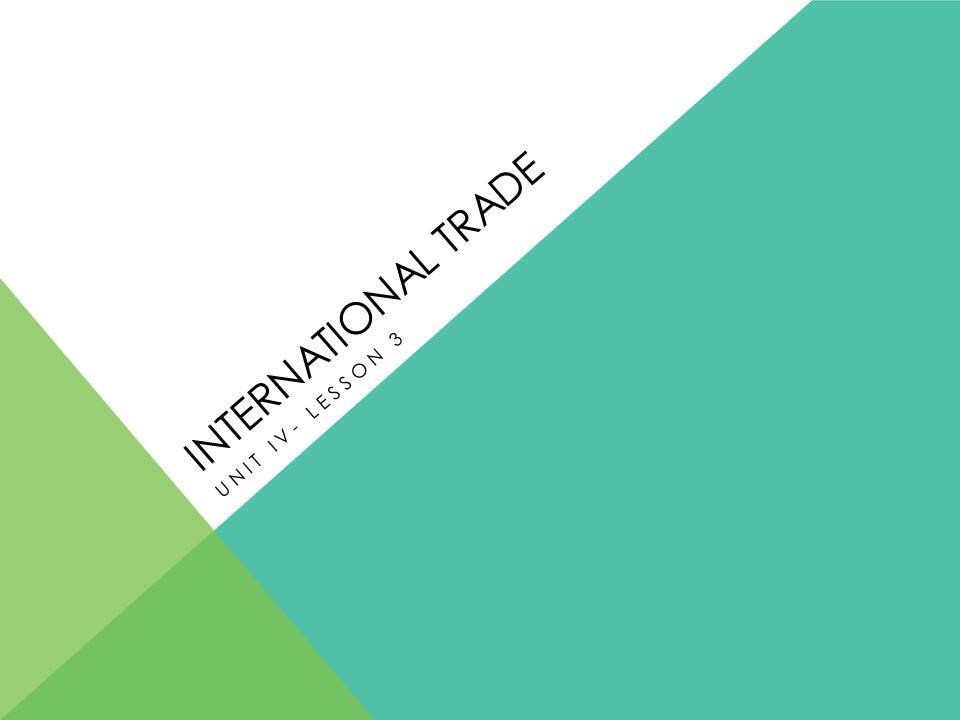 INTERNATIONAL TRADE UNIT IV- LESSON 3