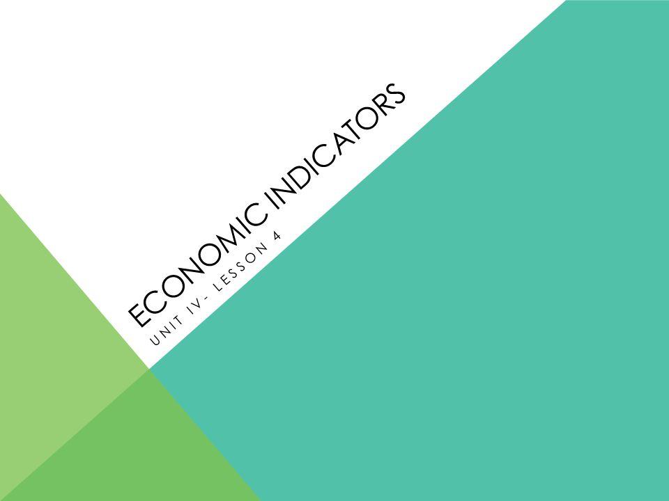 ECONOMIC INDICATORS UNIT IV- LESSON 4