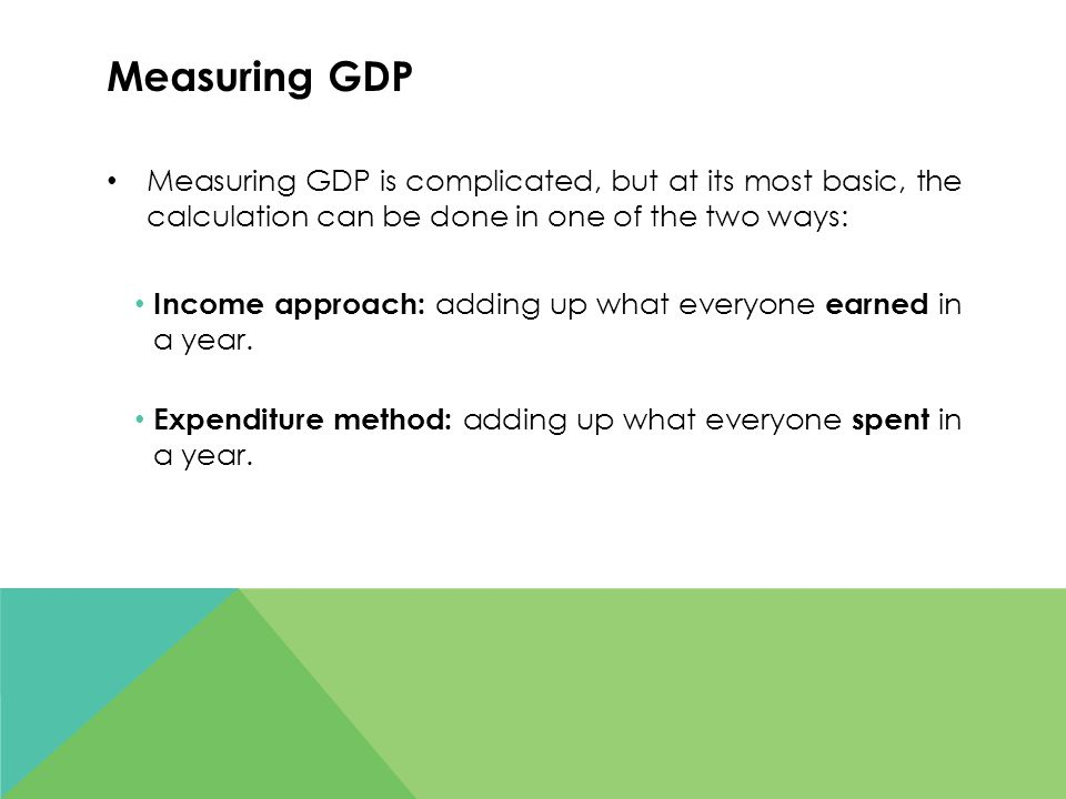 Measuring GDP Measuring GDP is complicated, but at its most basic, the calculation can be done in one of the two ways: Income approach: adding up what everyone earned in a year.