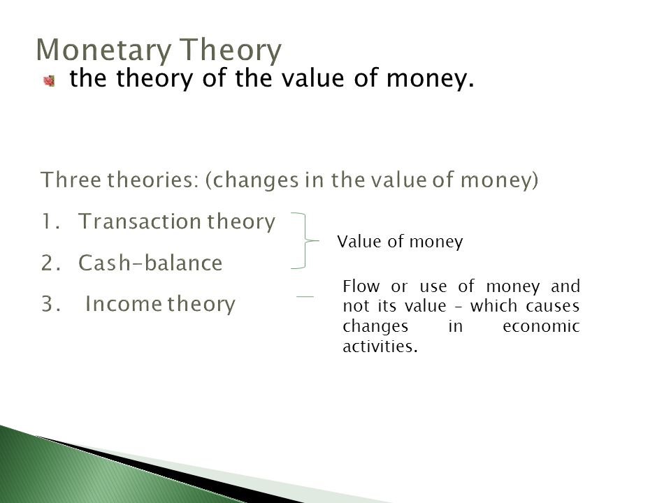 the theory of the value of money.