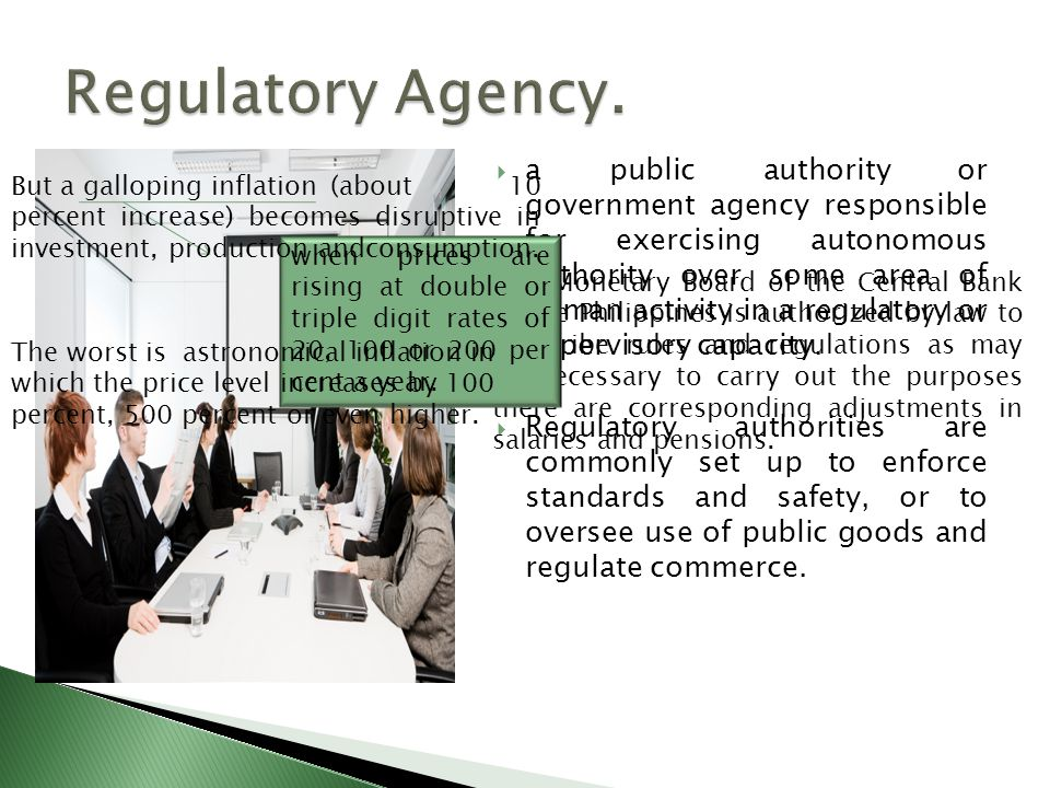 a public authority or government agency responsible for exercising autonomous authority over some area of human activity in a regulatory or supervisor