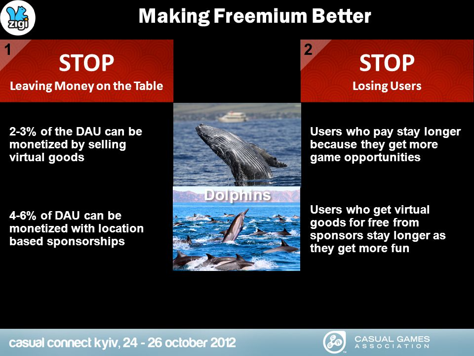 Making Freemium Better STOP Leaving Money on the Table STOP Losing Users 12 2-3% of the DAU can be monetized by selling virtual goods Users who pay st