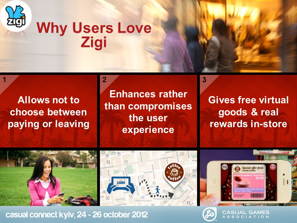 Why Users Love Zigi Allows not to choose between paying or leaving Enhances rather than compromises the user experience Gives free virtual goods & rea