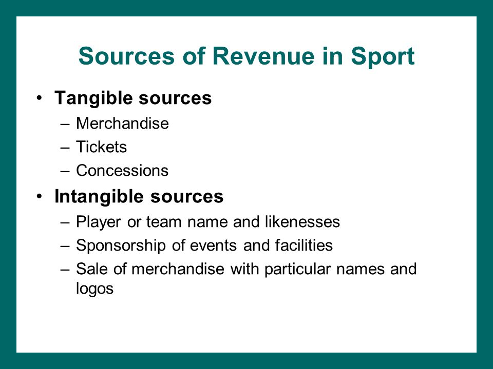 Sources of Revenue in Sport Tangible sources –Merchandise –Tickets –Concessions Intangible sources –Player or team name and likenesses –Sponsorship of events and facilities –Sale of merchandise with particular names and logos