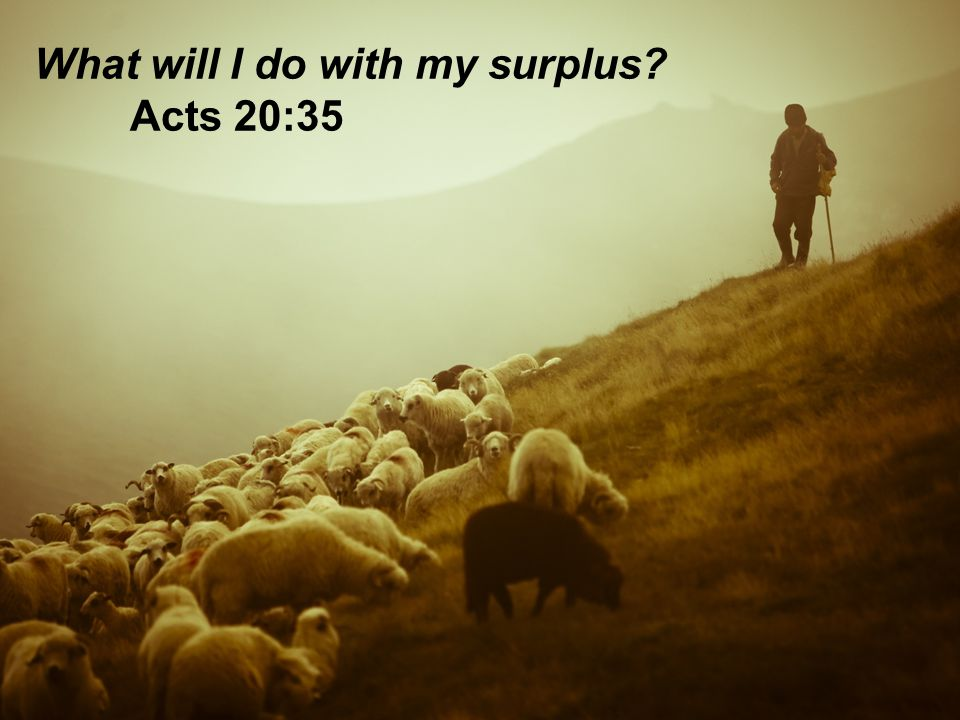 What will I do with my surplus Acts 20:35