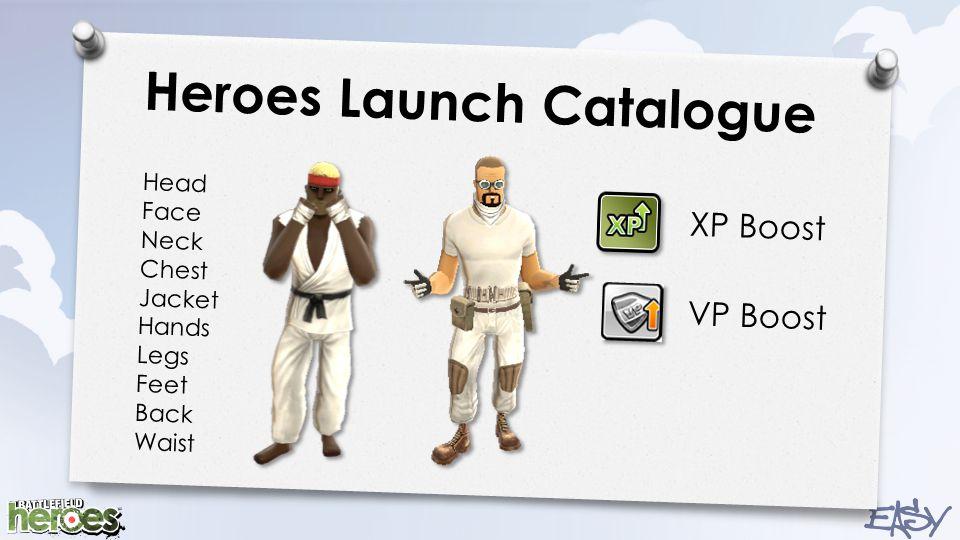 Heroes Launch Catalogue Head Face Neck Chest Jacket Hands Legs Feet Back Waist XP Boost VP Boost