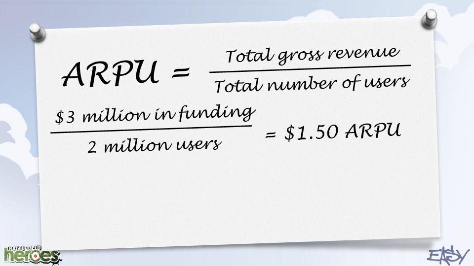 ARPU = Total gross revenue Total number of users $3 million in funding 2 million users = $1.50 ARPU