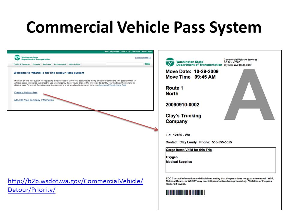 Commercial Vehicle Pass System   Detour/Priority/