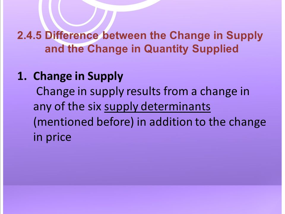 2.4.5 Difference between the Change in Supply and the Change in Quantity Supplied 1.Change in Supply Change in supply results from a change in any of the six supply determinants (mentioned before) in addition to the change in price