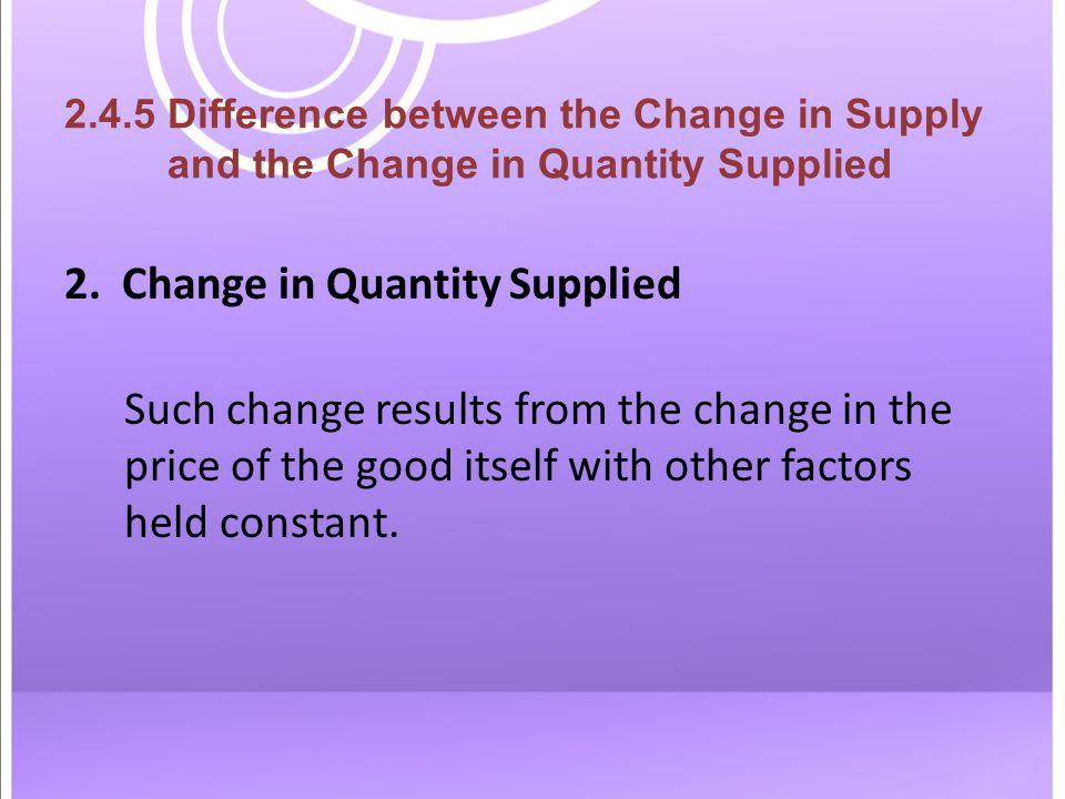 2.4.5 Difference between the Change in Supply and the Change in Quantity Supplied 2.
