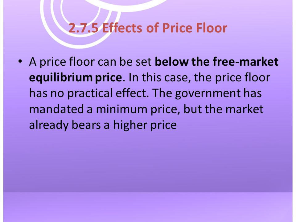 2.7.5 Effects of Price Floor A price floor can be set below the free-market equilibrium price.