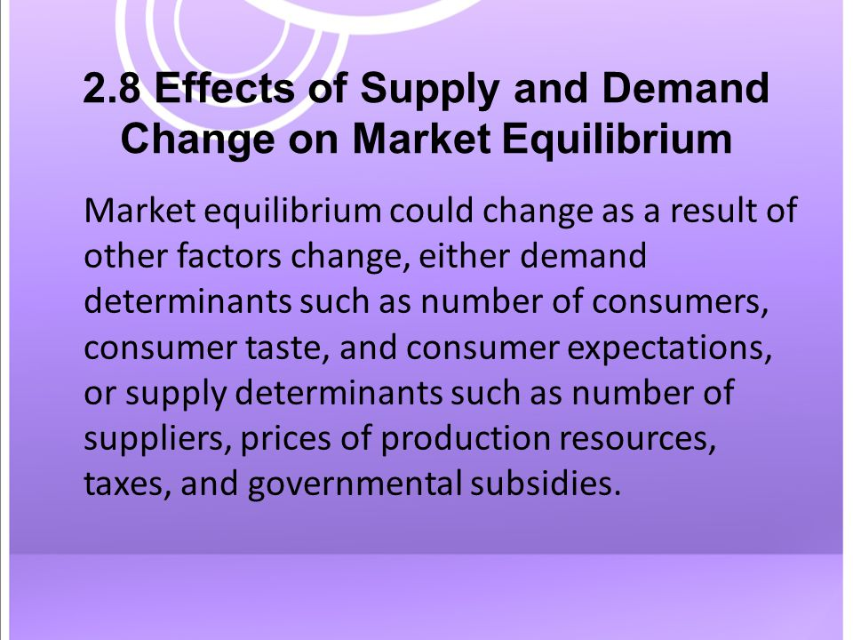 2.8 Effects of Supply and Demand Change on Market Equilibrium Market equilibrium could change as a result of other factors change, either demand determinants such as number of consumers, consumer taste, and consumer expectations, or supply determinants such as number of suppliers, prices of production resources, taxes, and governmental subsidies.