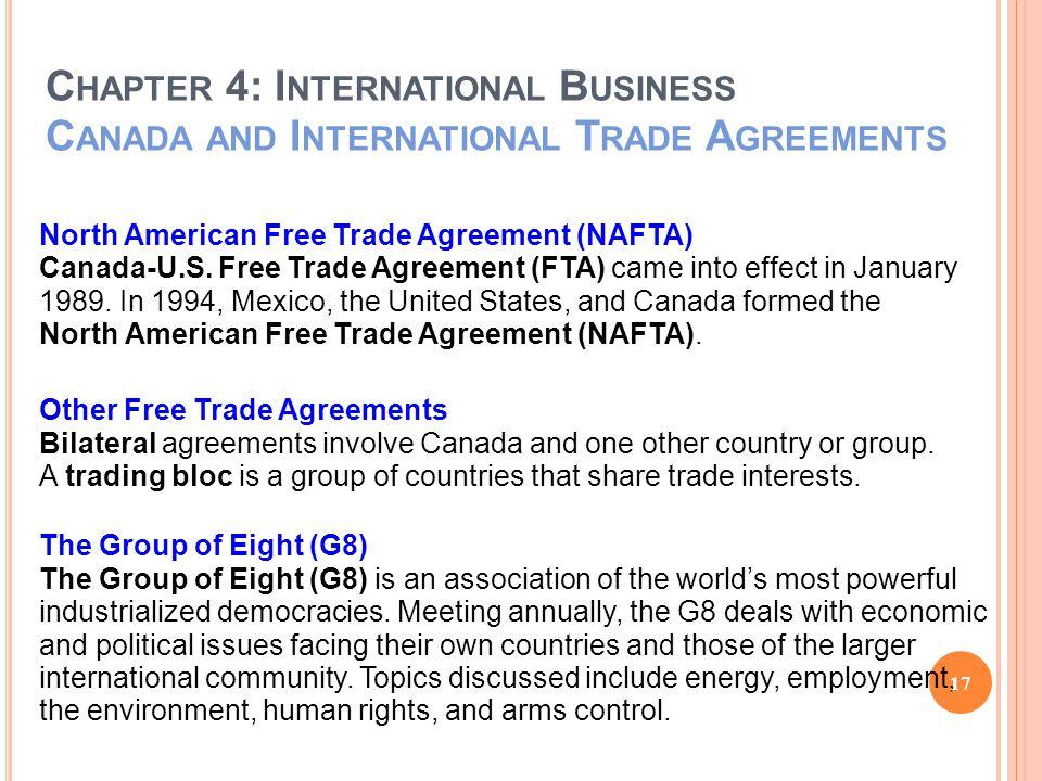 C HAPTER 4: I NTERNATIONAL B USINESS C ANADA AND I NTERNATIONAL T RADE A GREEMENTS North American Free Trade Agreement (NAFTA) Canada-U.S.