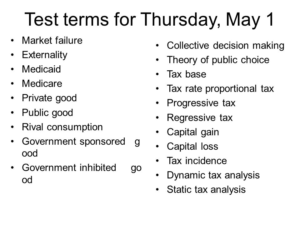Test terms for Thursday, May 1 Market failure Externality Medicaid Medicare Private good Public good Rival consumption Government sponsored g ood Gove