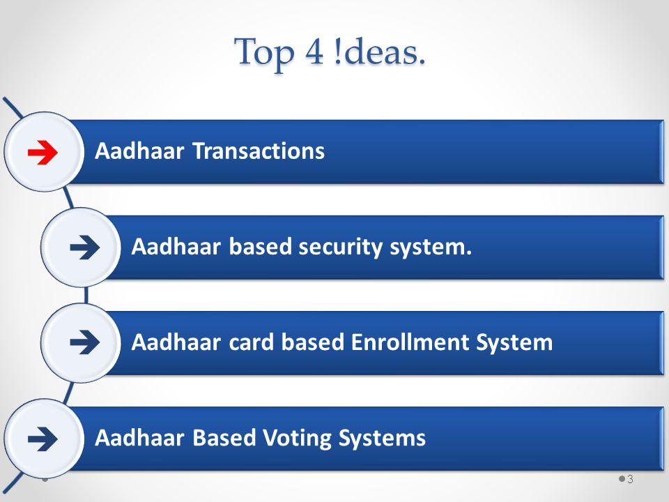 Top 4 !deas. Aadhaar Transactions Aadhaar based security system. Aadhaar card based Enrollment System Aadhaar Based Voting Systems 3