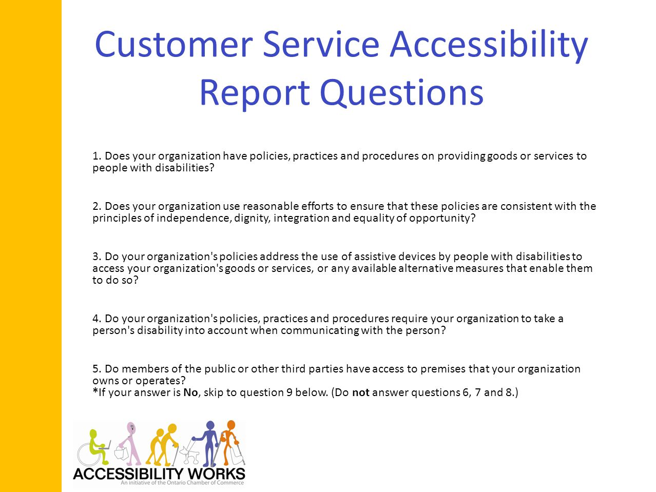 Customer Service Accessibility Report Questions 1.
